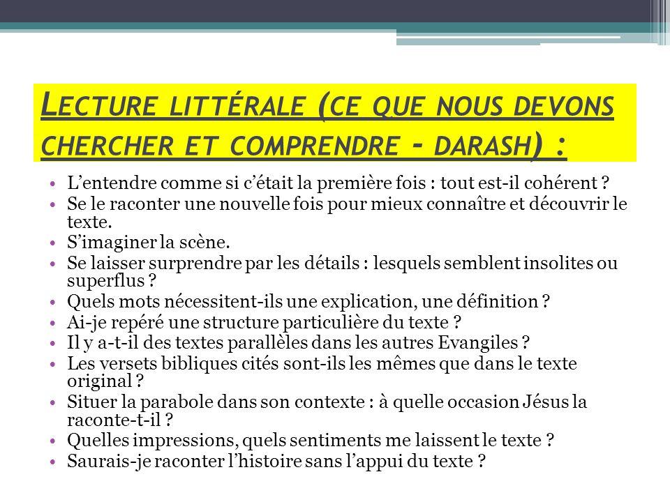 Lecture littérale (ce que nous devons chercher et comprendre - darash) :