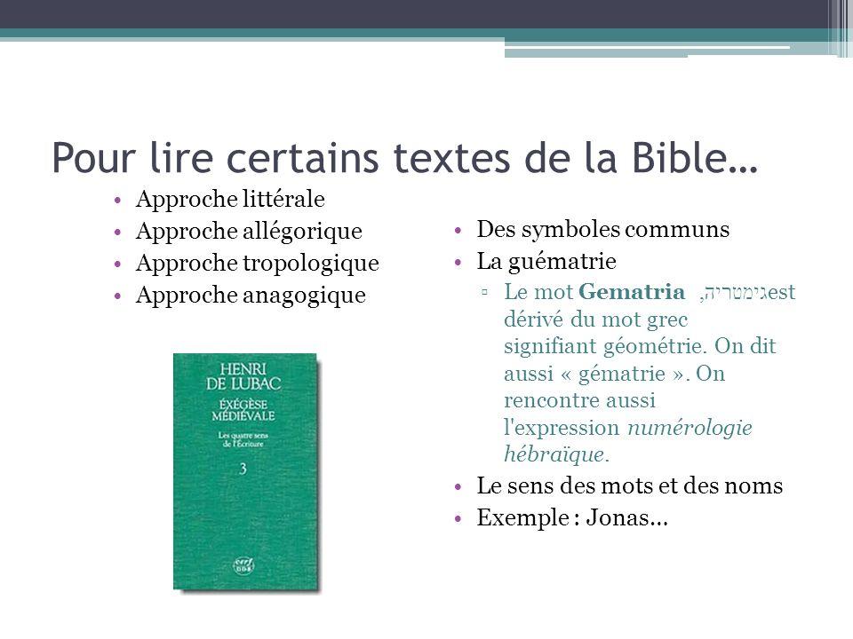 Pour lire certains textes de la Bible…