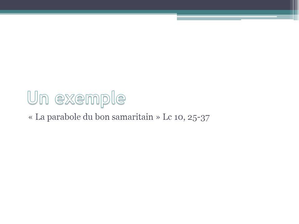 Un exemple « La parabole du bon samaritain » Lc 10, 25-37