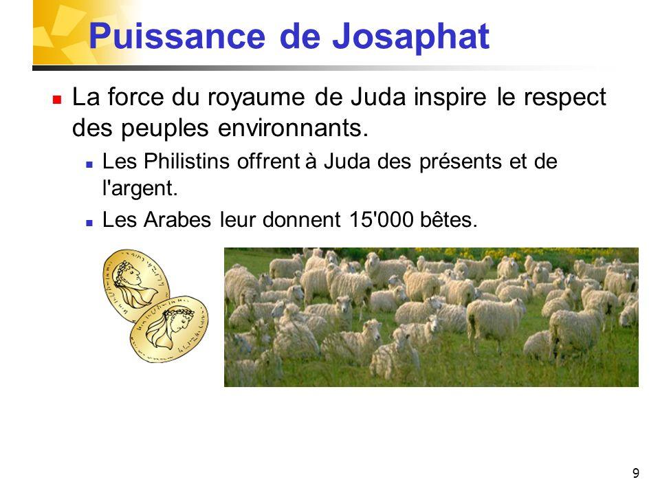 Puissance de Josaphat La force du royaume de Juda inspire le respect des peuples environnants.