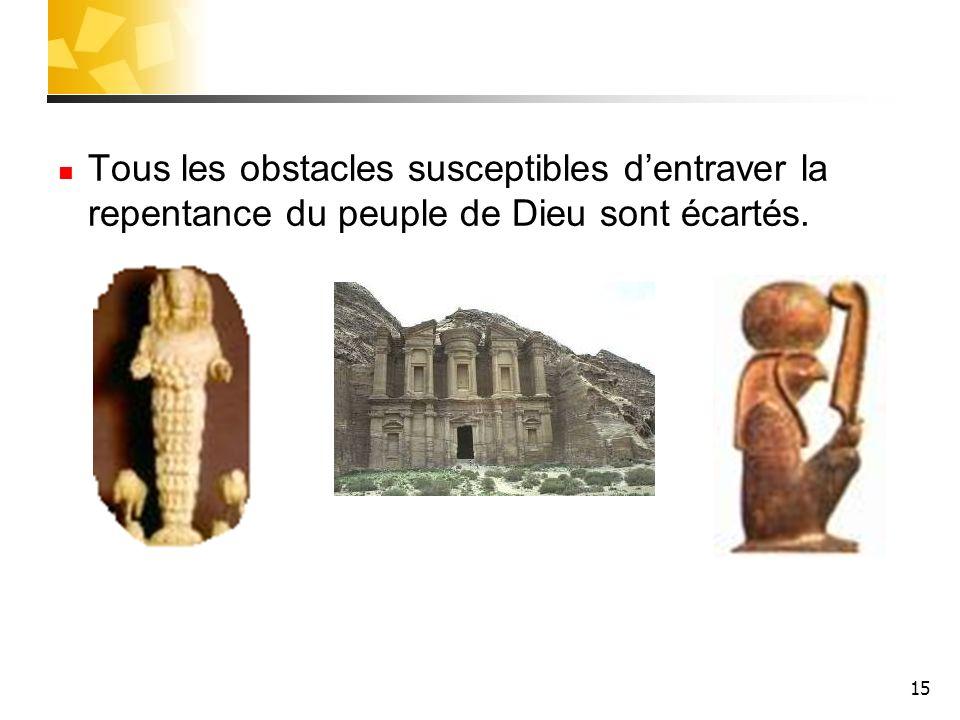 Tous les obstacles susceptibles d'entraver la repentance du peuple de Dieu sont écartés.
