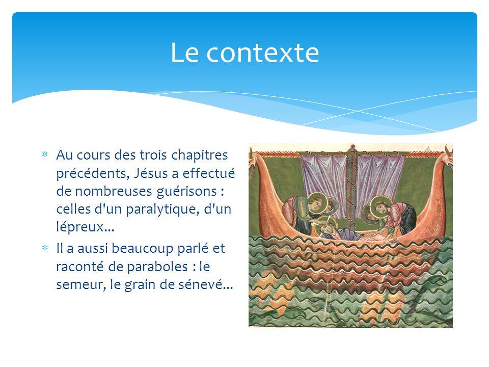 Le contexte Au cours des trois chapitres précédents, Jésus a effectué de nombreuses guérisons : celles d un paralytique, d un lépreux...