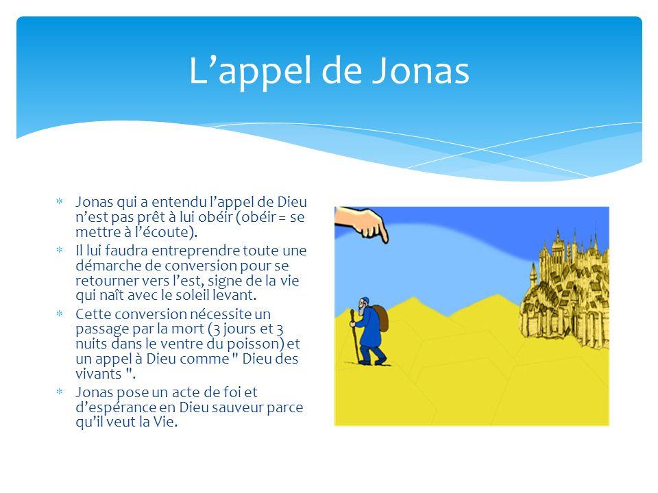 L'appel de Jonas Jonas qui a entendu l'appel de Dieu n'est pas prêt à lui obéir (obéir = se mettre à l'écoute).