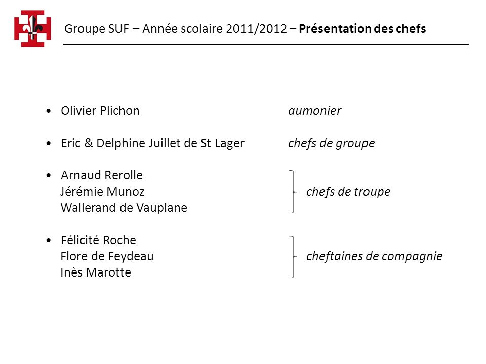 Groupe SUF – Année scolaire 2011/2012 – Présentation des chefs