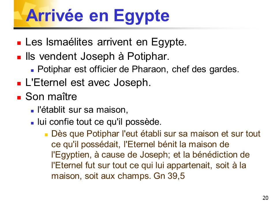 Arrivée en Egypte Les Ismaélites arrivent en Egypte.