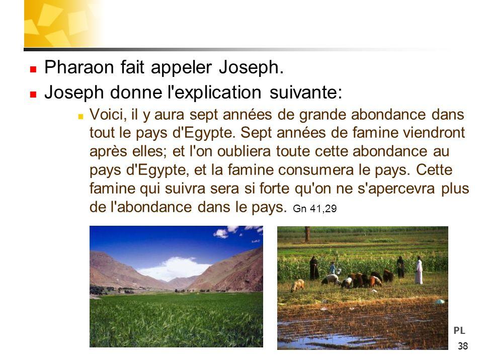 Pharaon fait appeler Joseph. Joseph donne l explication suivante: