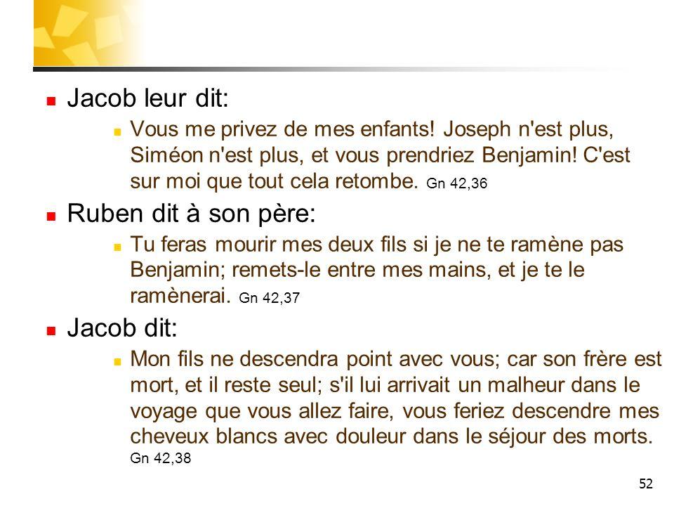 Jacob leur dit: Ruben dit à son père: Jacob dit:
