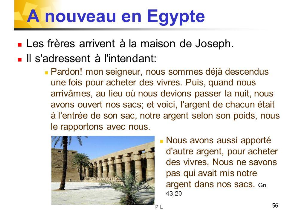 A nouveau en Egypte Les frères arrivent à la maison de Joseph.