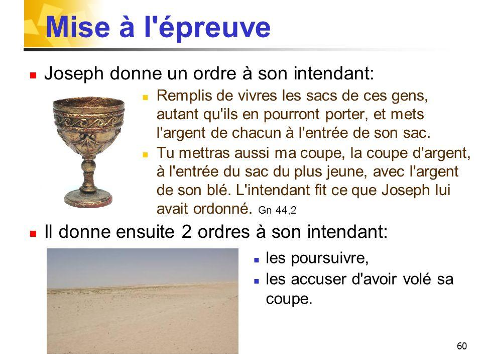 Mise à l épreuve Joseph donne un ordre à son intendant: