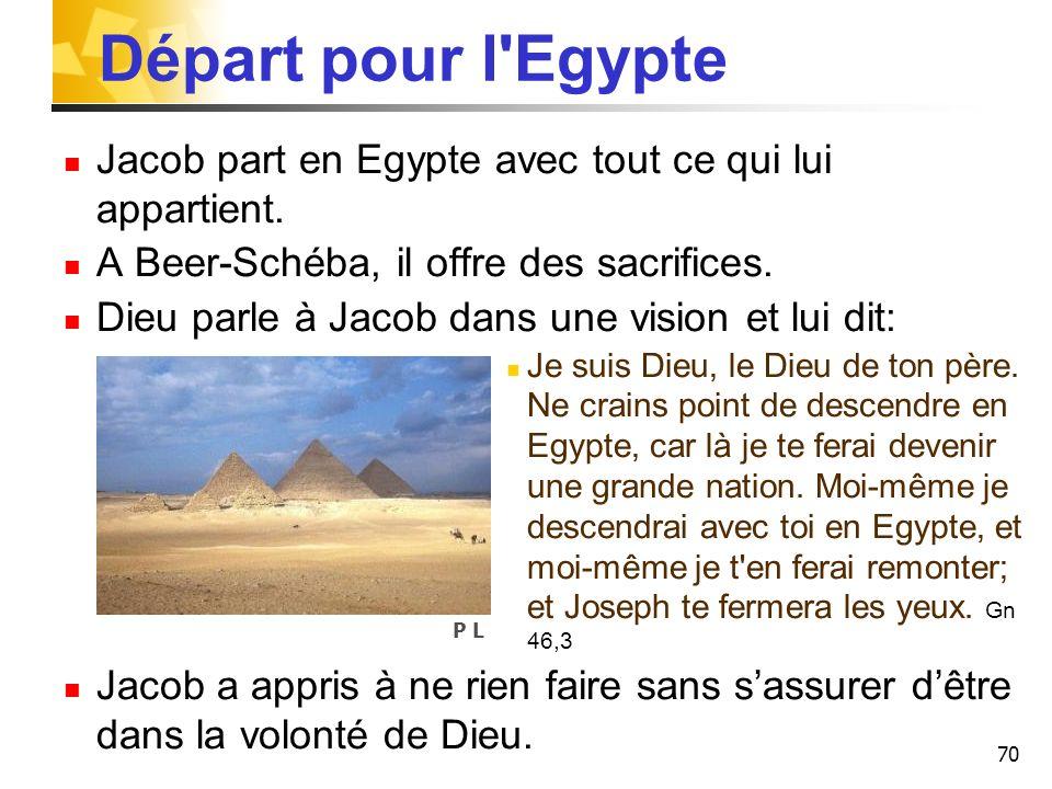 Départ pour l Egypte Jacob part en Egypte avec tout ce qui lui appartient. A Beer-Schéba, il offre des sacrifices.