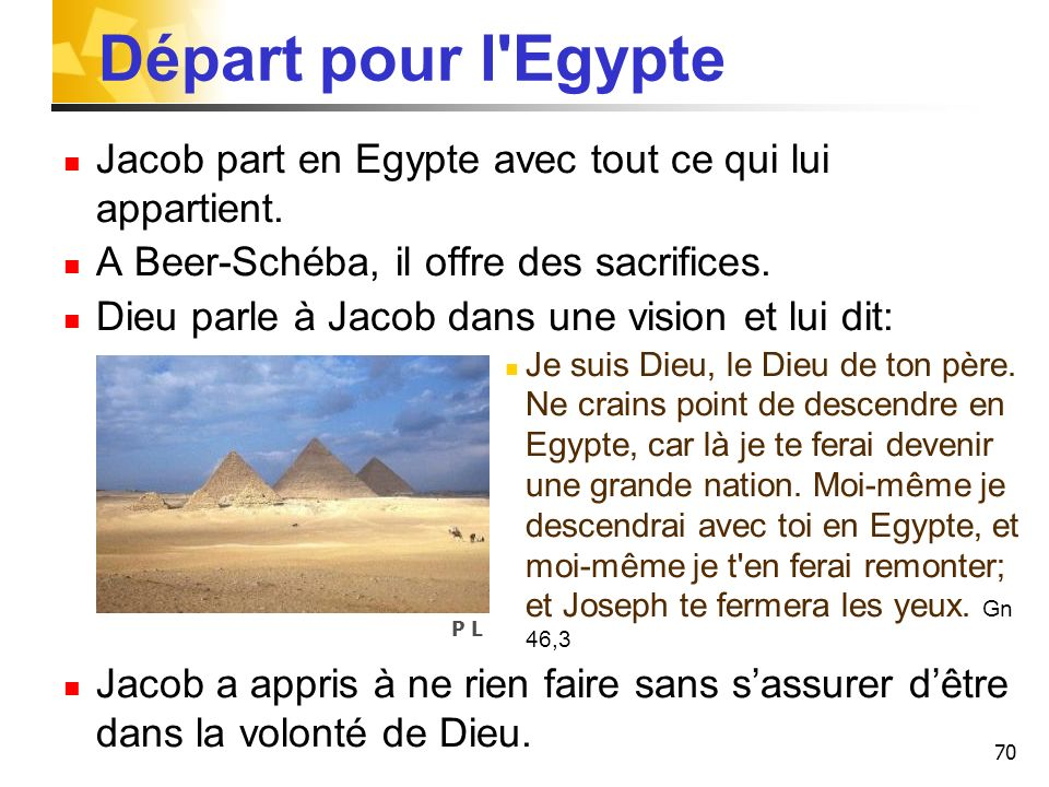 Départ pour l EgypteJacob part en Egypte avec tout ce qui lui appartient. A Beer-Schéba, il offre des sacrifices.