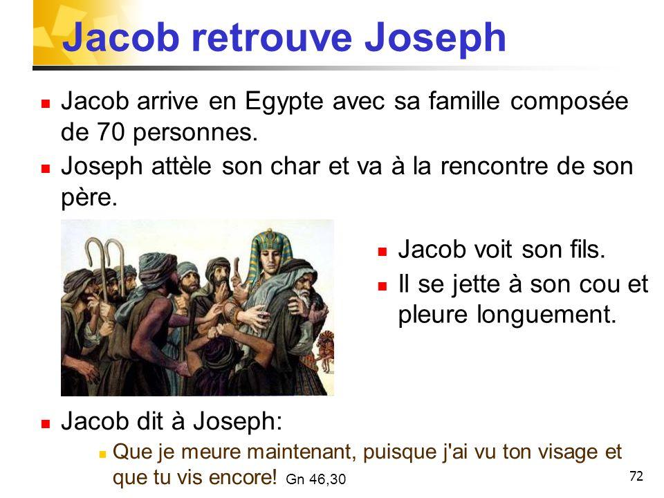 Jacob retrouve JosephJacob arrive en Egypte avec sa famille composée de 70 personnes. Joseph attèle son char et va à la rencontre de son père.