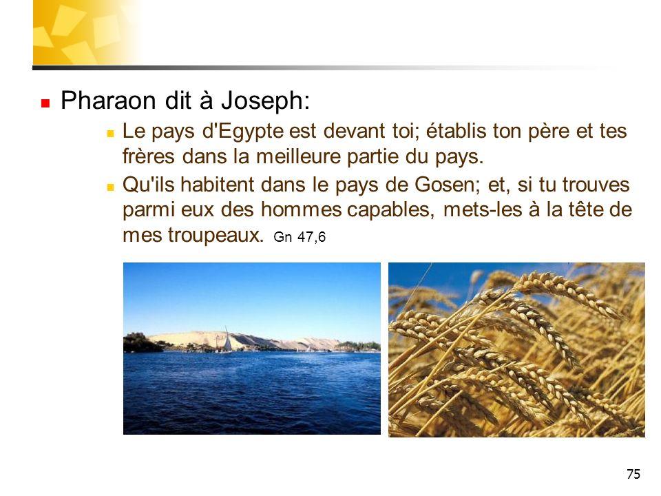 Pharaon dit à Joseph: Le pays d Egypte est devant toi; établis ton père et tes frères dans la meilleure partie du pays.