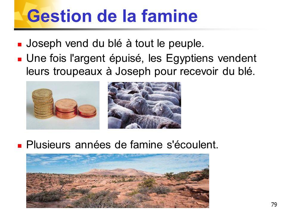Gestion de la famine Joseph vend du blé à tout le peuple.