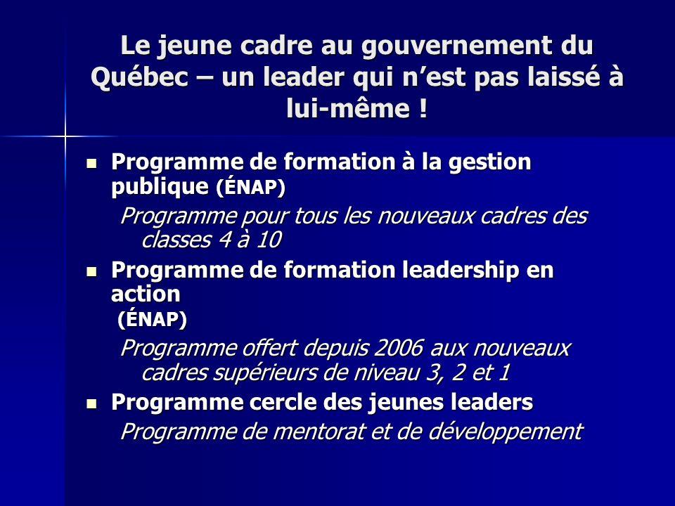 Le jeune cadre au gouvernement du Québec – un leader qui n'est pas laissé à lui-même !