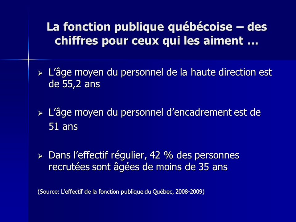 La fonction publique québécoise – des chiffres pour ceux qui les aiment …