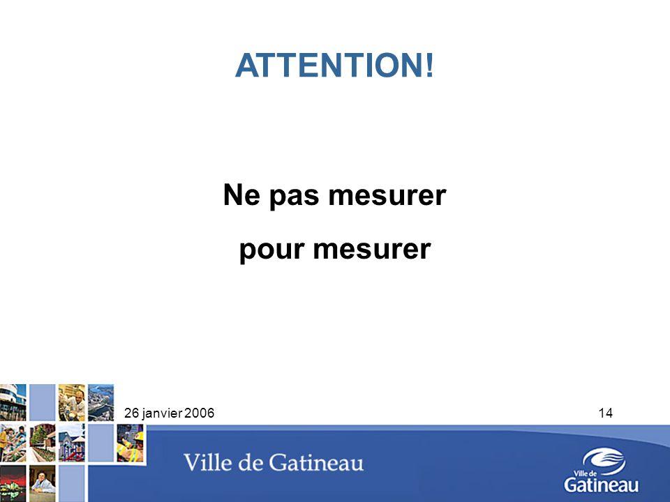 ATTENTION! Ne pas mesurer pour mesurer 26 janvier 2006