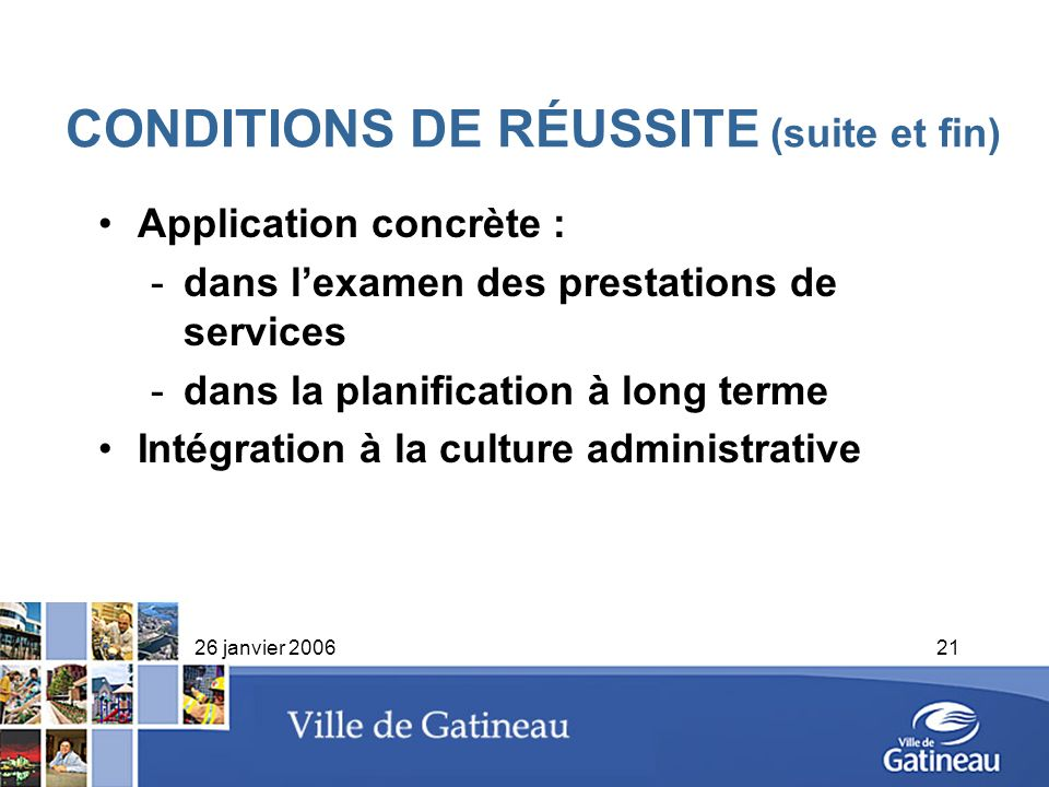 CONDITIONS DE RÉUSSITE (suite et fin)