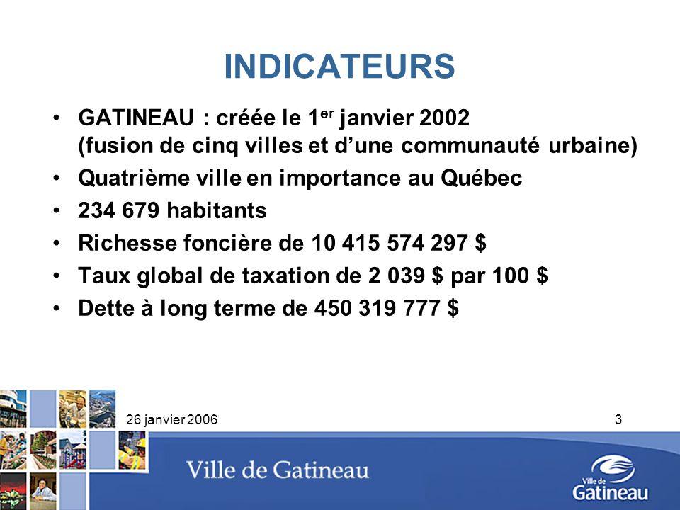 INDICATEURS GATINEAU : créée le 1er janvier 2002 (fusion de cinq villes et d'une communauté urbaine)
