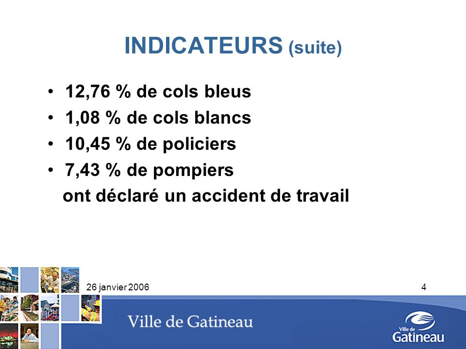 INDICATEURS (suite) 12,76 % de cols bleus 1,08 % de cols blancs