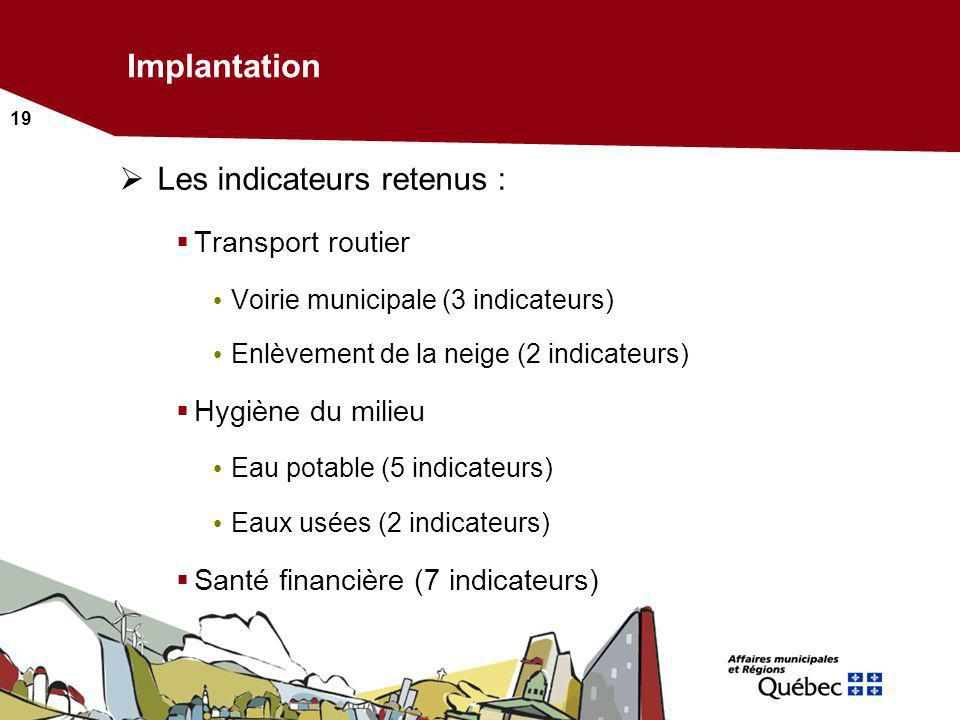 Implantation Les indicateurs retenus : Transport routier