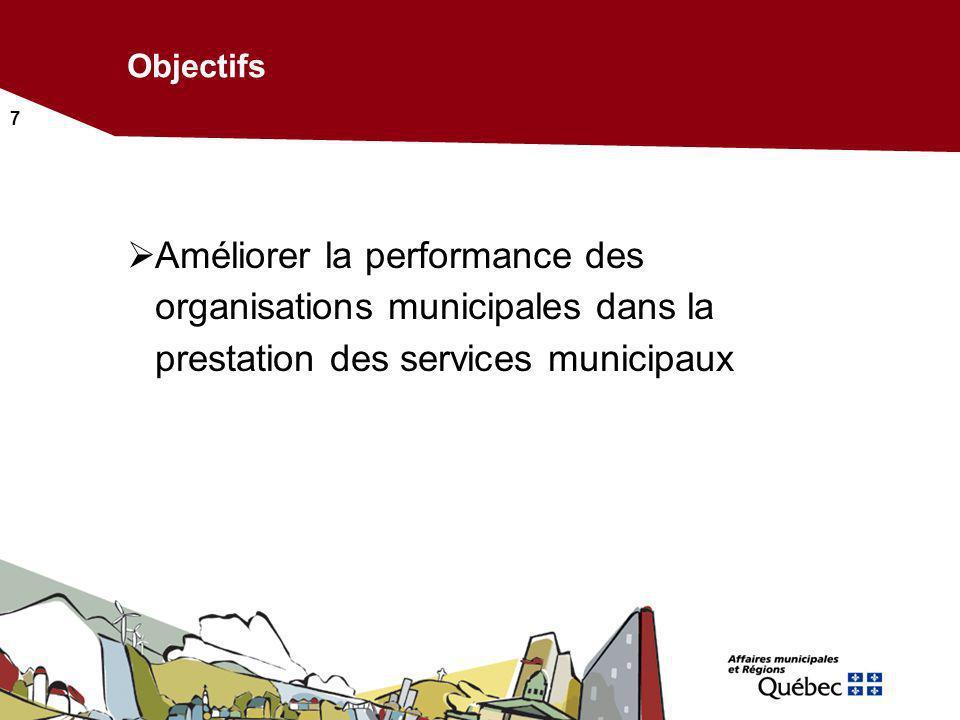 Objectifs Améliorer la performance des organisations municipales dans la prestation des services municipaux.