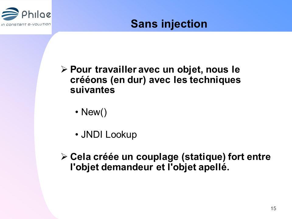 Sans injectionPour travailler avec un objet, nous le crééons (en dur) avec les techniques suivantes.