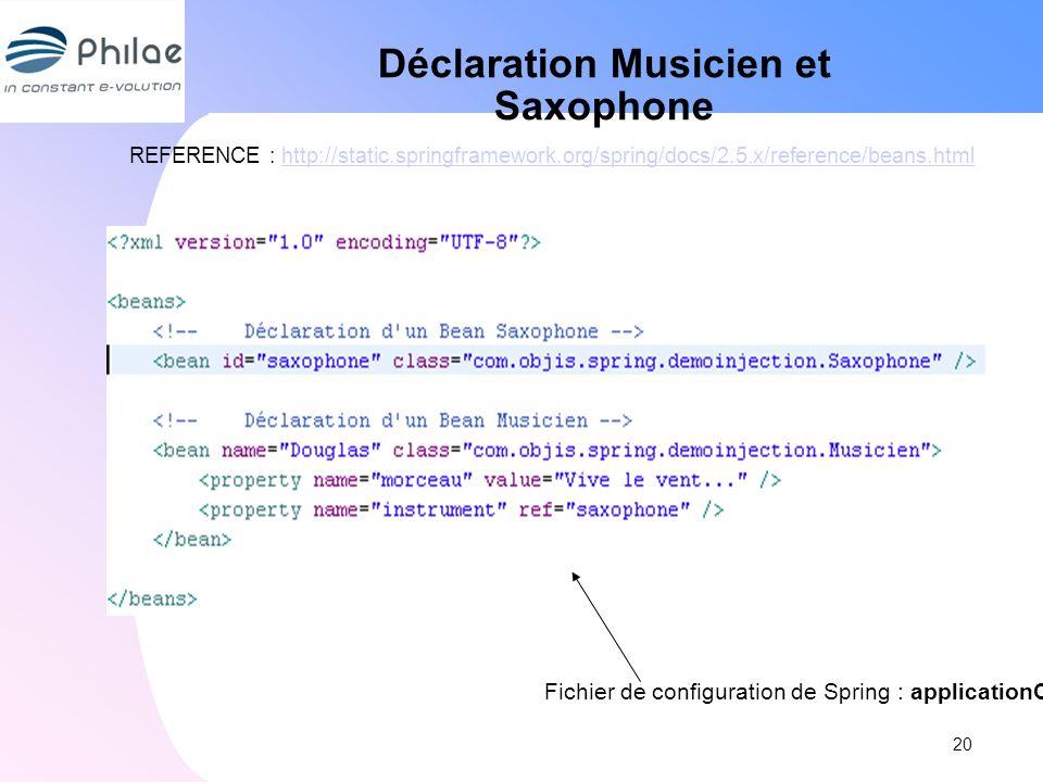 Déclaration Musicien et Saxophone