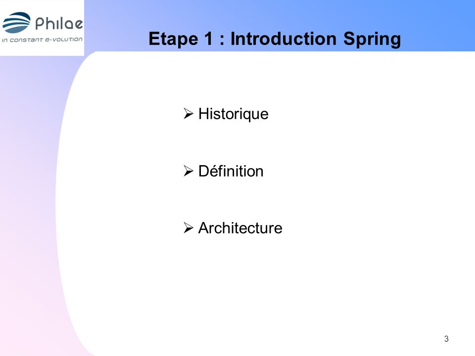 Etape 1 : Introduction Spring