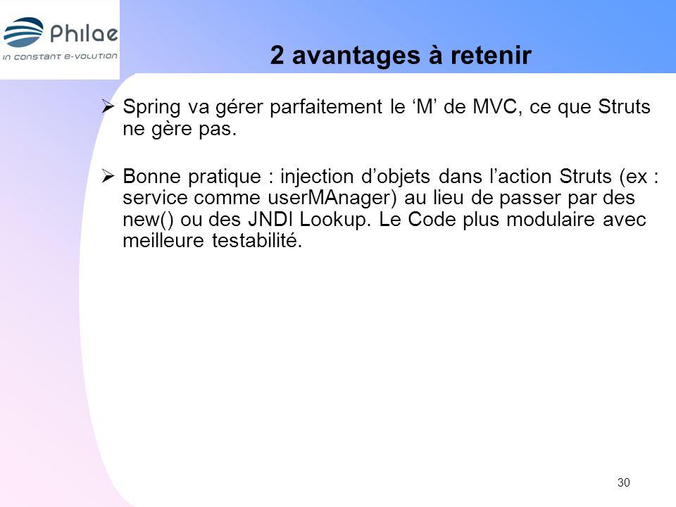 2 avantages à retenir Spring va gérer parfaitement le 'M' de MVC, ce que Struts ne gère pas.
