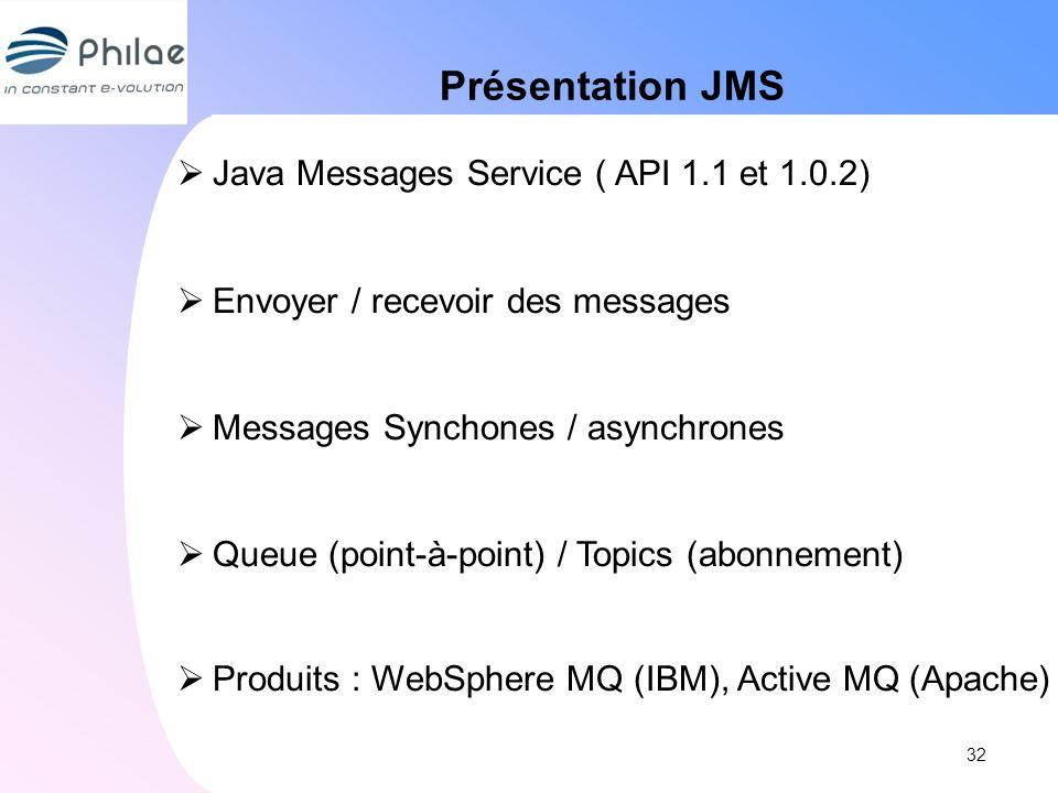 Présentation JMS Java Messages Service ( API 1.1 et 1.0.2)
