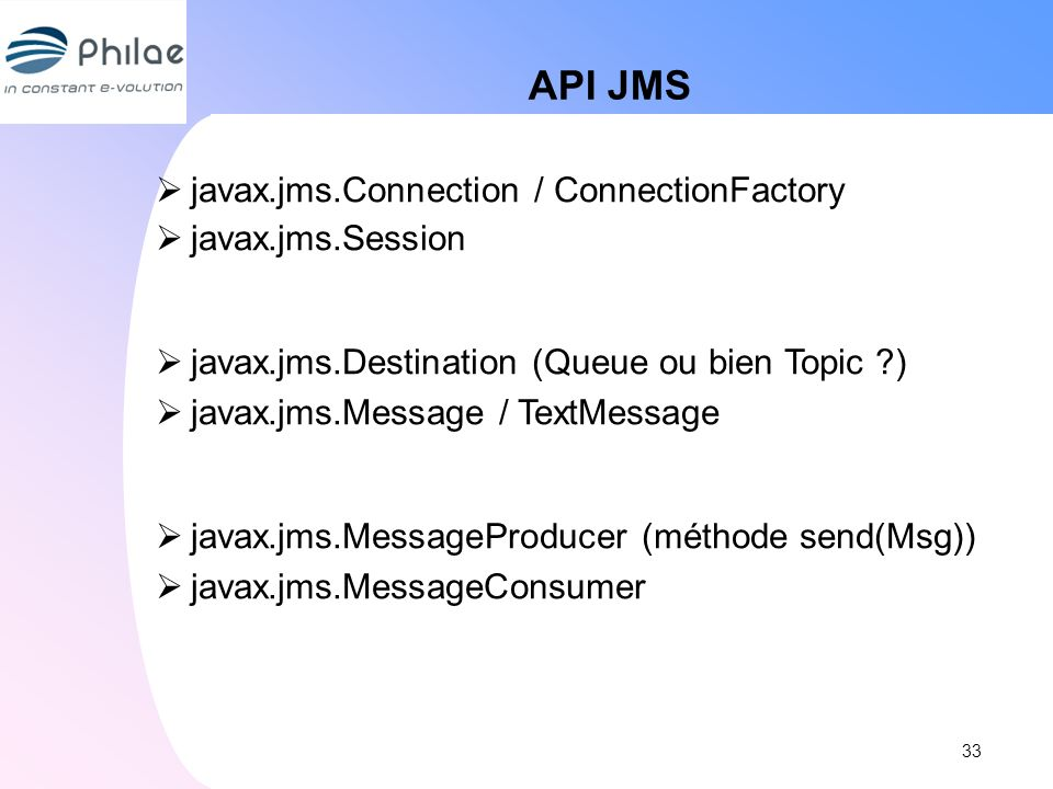 API JMS javax.jms.Connection / ConnectionFactory javax.jms.Session