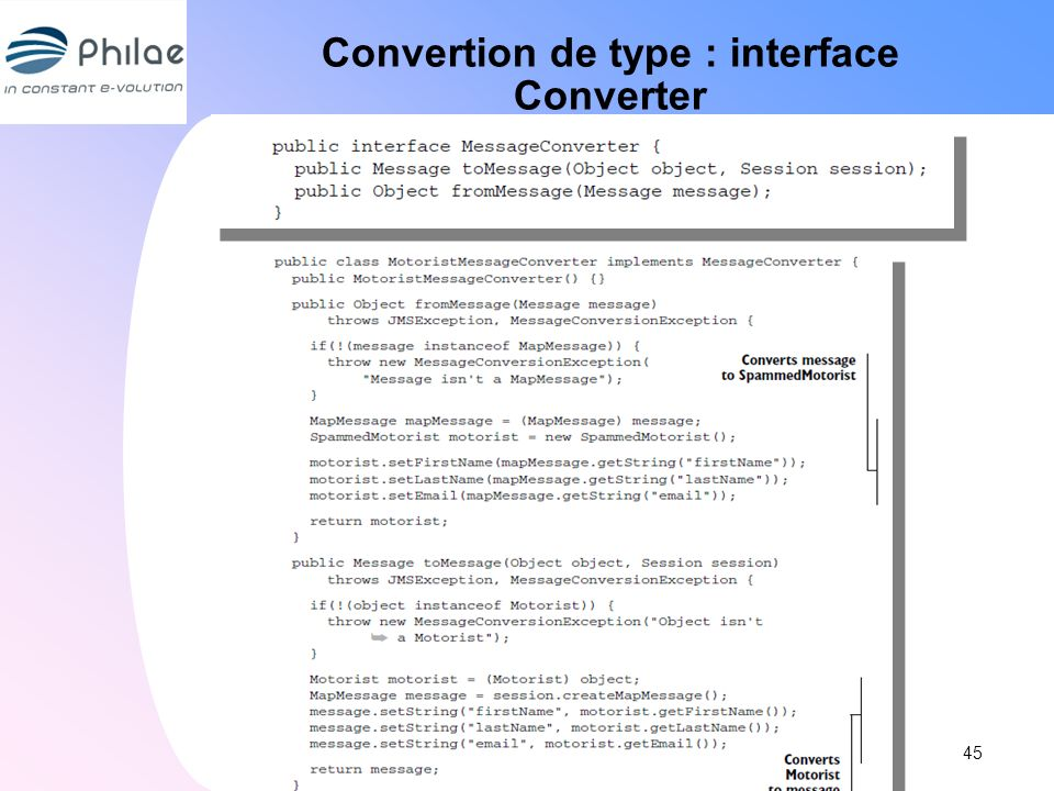 Convertion de type : interface Converter