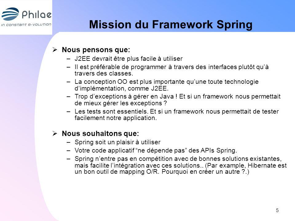 Mission du Framework Spring