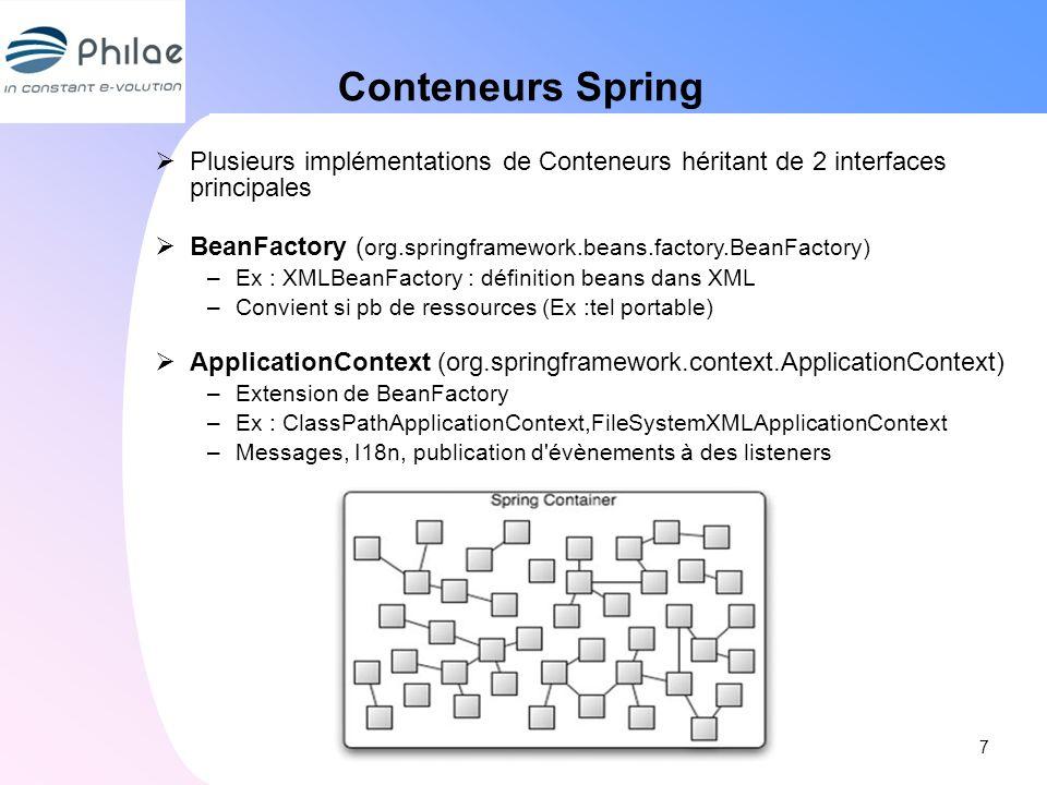 Conteneurs Spring Plusieurs implémentations de Conteneurs héritant de 2 interfaces principales.