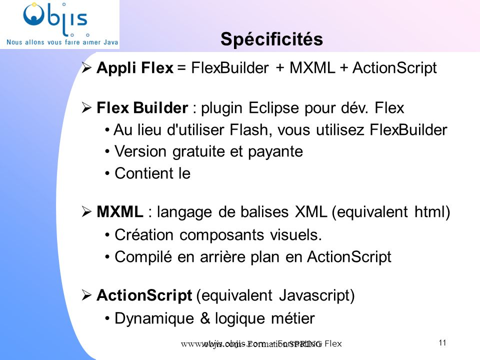 Spécificités Appli Flex = FlexBuilder + MXML + ActionScript
