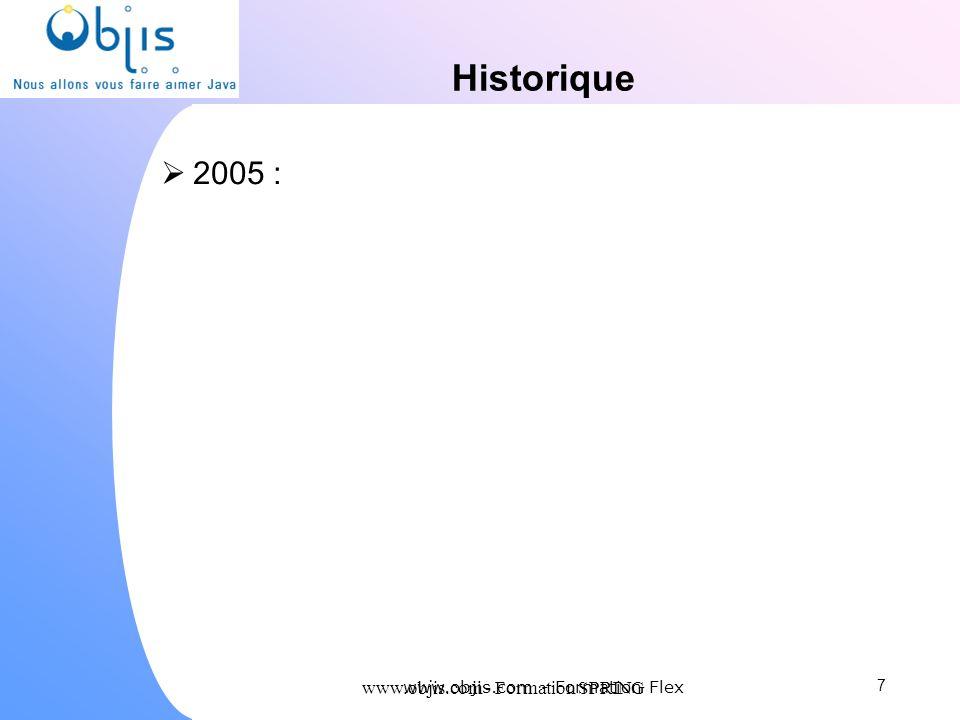 Historique 2005 : www.objis.com - Formation SPRING