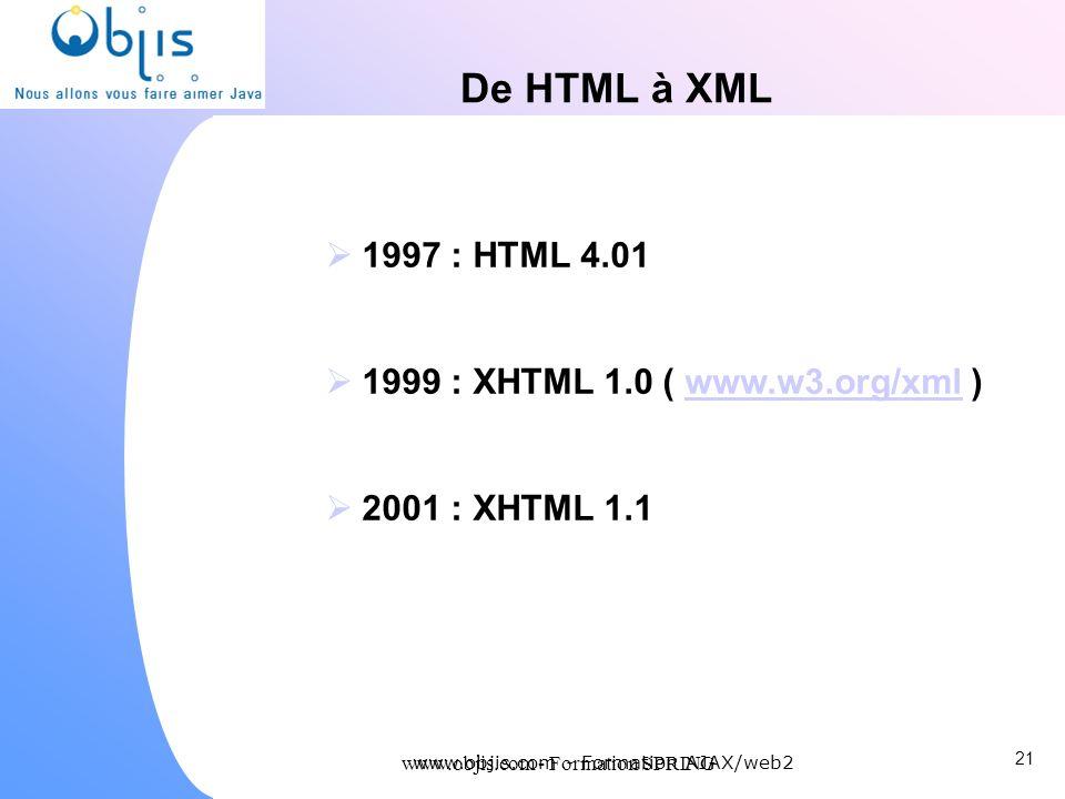 De HTML à XML 1997 : HTML 4.01 1999 : XHTML 1.0 ( www.w3.org/xml )