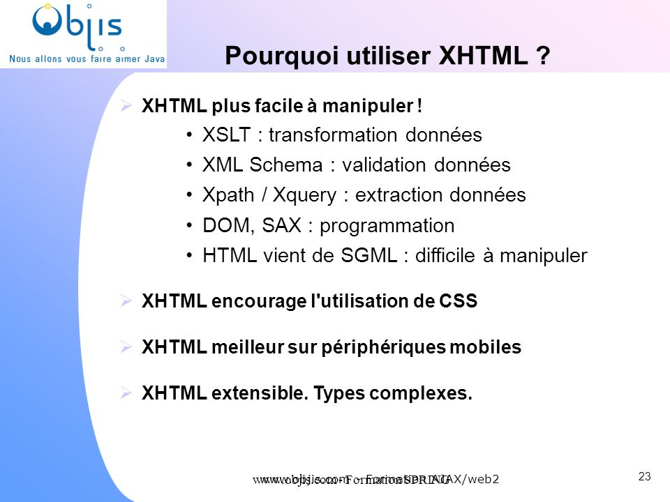 Pourquoi utiliser XHTML