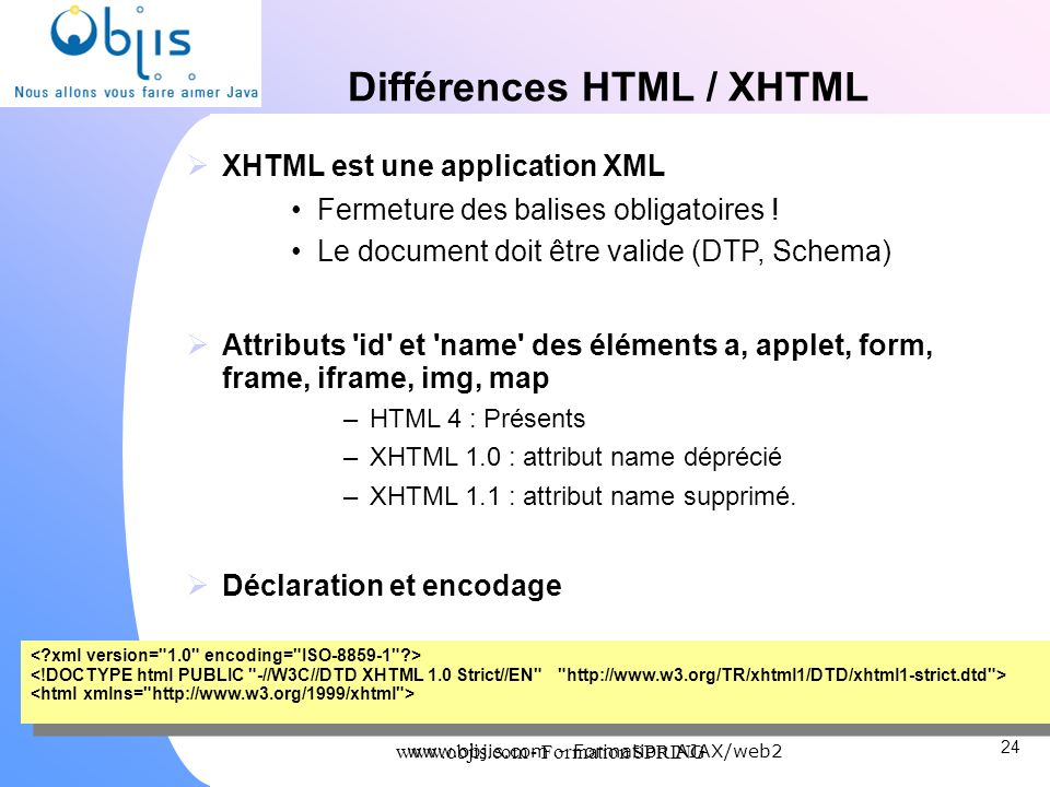 Différences HTML / XHTML