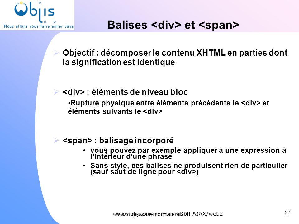 Balises <div> et <span>