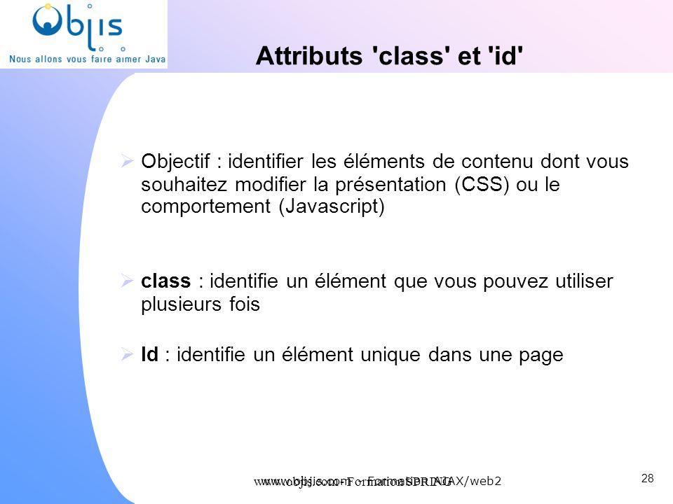 Attributs class et id