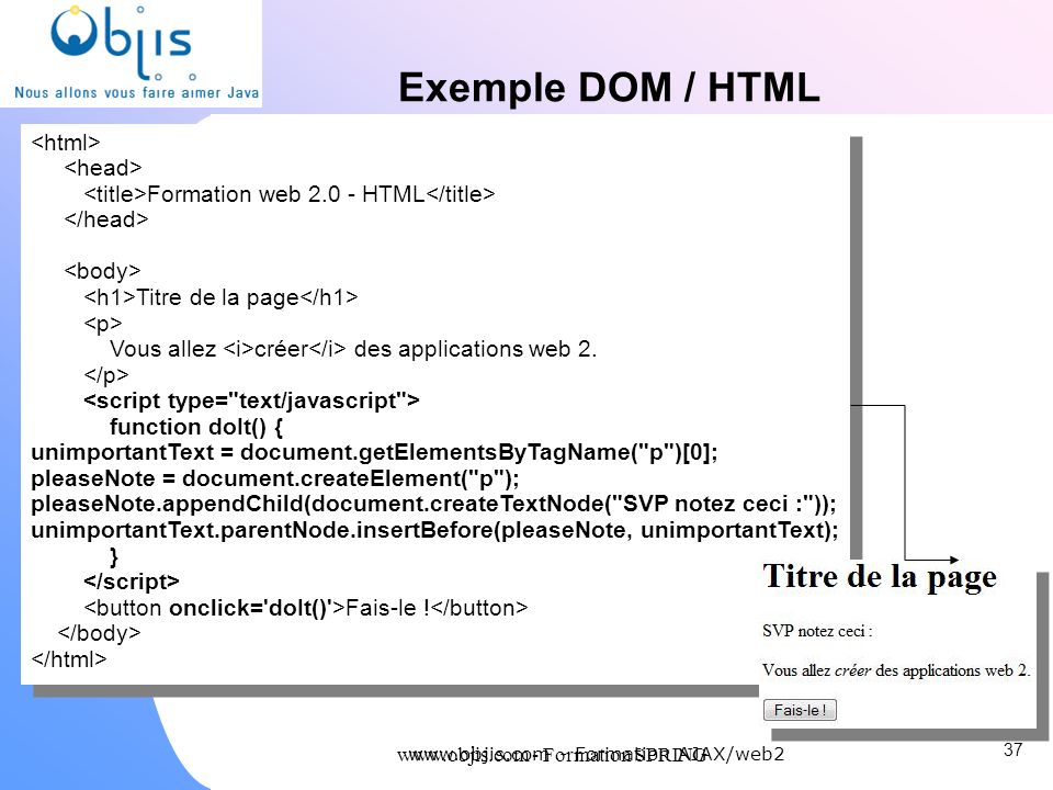 Exemple DOM / HTML <html> <head>