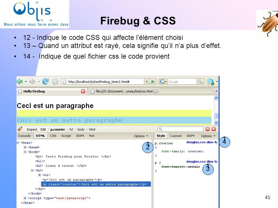 Firebug & CSS 12 - Indique le code CSS qui affecte l'élément choisi