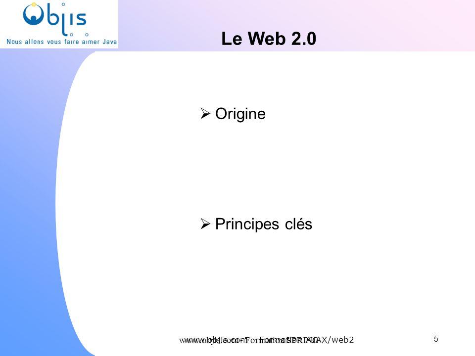 Le Web 2.0 Origine Principes clés www.objis.com - Formation SPRING