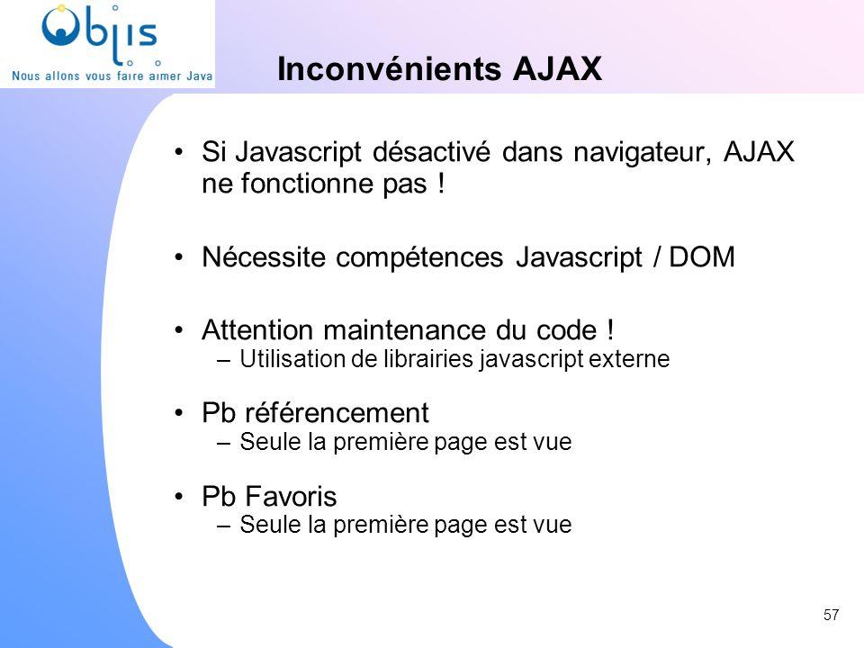 Inconvénients AJAX Si Javascript désactivé dans navigateur, AJAX ne fonctionne pas ! Nécessite compétences Javascript / DOM.