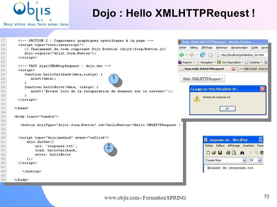 Dojo : Hello XMLHTTPRequest !