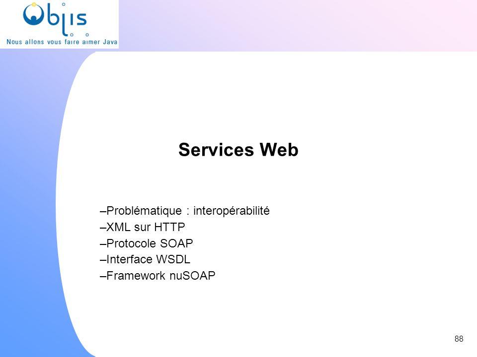 Services Web Problématique : interopérabilité XML sur HTTP