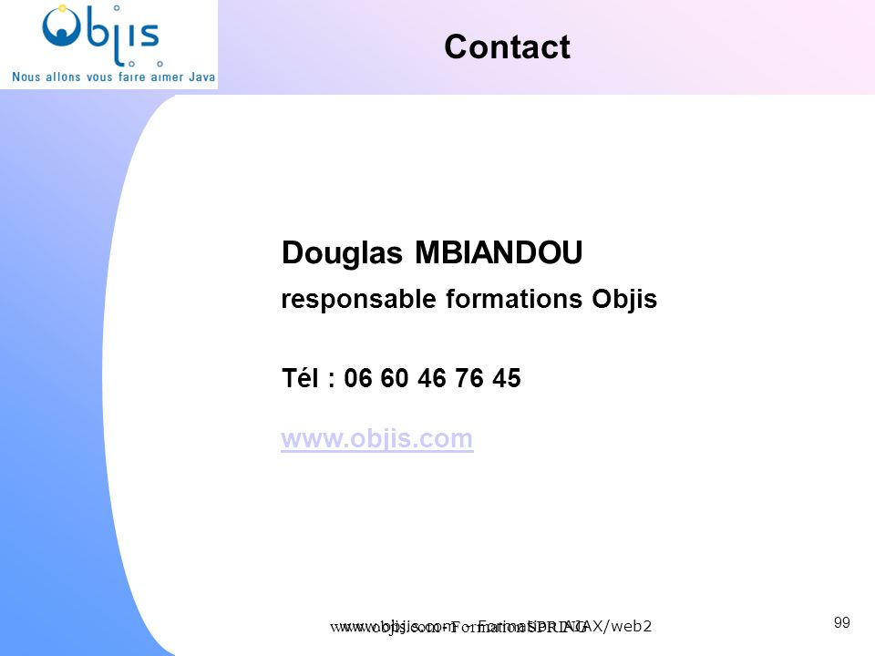 Contact Douglas MBIANDOU responsable formations Objis
