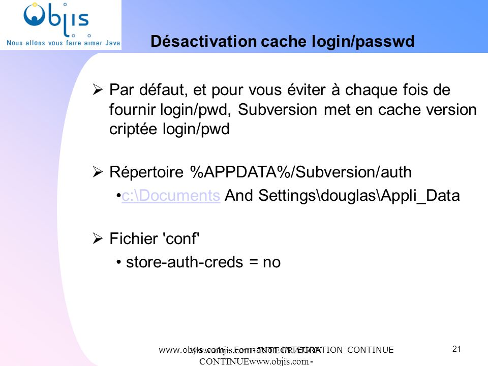 Désactivation cache login/passwd